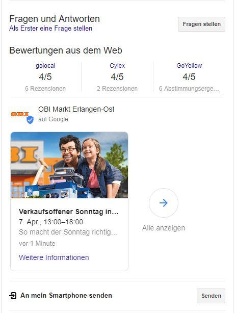 google post event auf der suchergebnisseite obi markt erlangen