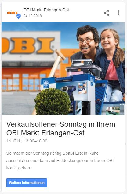 google post event vollansicht obi markt erlangen